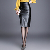 秋冬新款中长款皮裙半身裙高腰包臀裙显瘦过膝长裙子女开叉一步裙