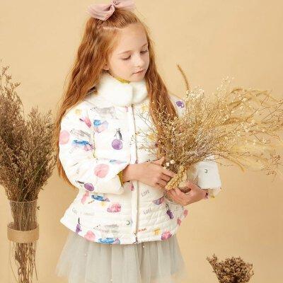 美特斯邦威moomoo童装冬季女童中长款印花保暖修身中大童白毛领羽绒服