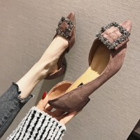 欧美风2019春夏季大码时尚新款女鞋子绒面蝴蝶结浅口尖头低跟单鞋