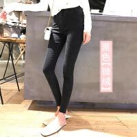黑色牛仔裤女加绒冬季2018新款韩版显瘦春秋高腰九分紧身小脚裤子