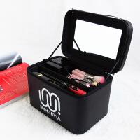手提方形立体洗漱化妆品收纳箱 大容量带镜子防水便携化妆包