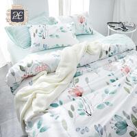 简约田园风纯棉四件套全棉被单被套床单人床上用品三件套学生宿舍