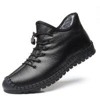 冬季新品休闲男棉鞋保暖加绒软底开车鞋老北京布鞋男青年高帮棉靴真皮