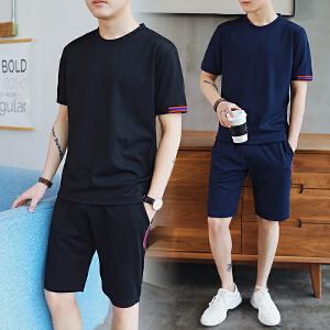夏季男生休闲运动T恤套装潮流韩版青少年短袖短裤一套薄DS86