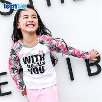 天美意teenmix童装女童T恤2018春季新款幼童碎花圆领长袖T恤儿童女生衣服 CZ0044