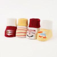 4双秋冬加厚宝宝0-6-12个月新生儿宝宝地板袜子婴儿袜子松口