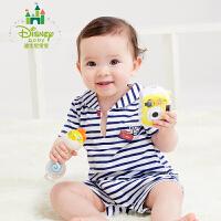 迪士尼Disney童装婴儿内衣连体衣小海军色织条纹哈衣宝宝休闲爬服162L693
