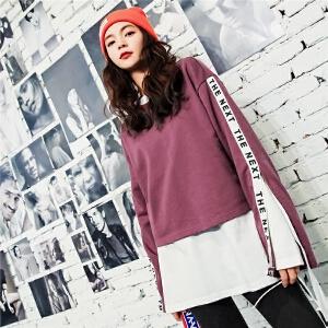 七格格短款卫衣新款女秋季韩版宽松运动飘带休闲长袖开叉上衣