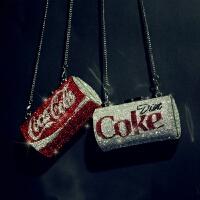 钻石版晚宴包创意可乐包斜跨包易拉罐包单肩包链条小挎包手拿包