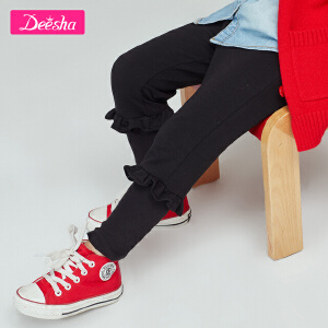 【109/3件】笛莎童装女童长裤2019春款新款小童裤子木耳边针织下装打底长裤