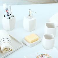 浴室用品套装陶瓷卫浴五件套几何北欧浴室洗漱杯套装 白色卫生间洗漱套装 白色 套装