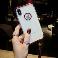 苹果X手机壳新款女iPhone8plus全包防摔6s硅胶韩国7p挂绳超薄 iPhone X红色
