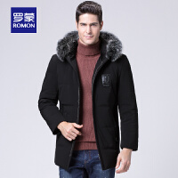 Romon/罗蒙男士羽绒服中年冬季加厚宽松连帽狐狸毛领休闲保暖外套