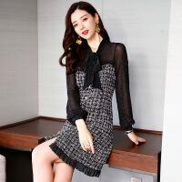 格子连衣裙女中长款2019春装新款时尚气质韩版长袖有女人味的裙子