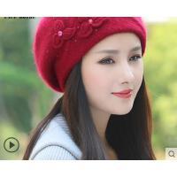 新品时尚兔毛混纺针织帽子女保暖韩版手工织花贝雷帽
