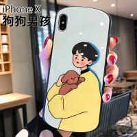 苹果x手机壳弧形8plus玻璃后壳iphone7全包边情侣6s少女款xs网红xmax个性潮牌男iph