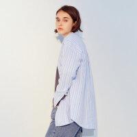 【1件3折到手价:104.7】美特斯邦威长袖衬衫女新款时尚款式男友条纹衬衫