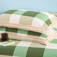 娇典新款纯棉老粗布花边枕套单件 一只全棉花边枕套加厚欧式风格 48cmX74cm
