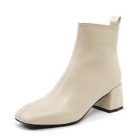 小短靴女春秋2018新款瘦瘦单靴粗跟白色高跟及踝靴方头马丁靴子 米白色 脚瘦建议选购小一