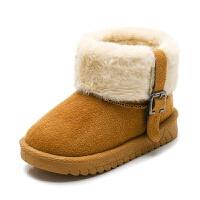 冬季儿童雪地靴女童靴子 宝宝棉鞋女童短靴 加绒毛靴保暖棉靴毛口
