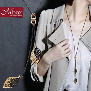 新年礼物Mbox毛衣项链 女款长款百搭韩国版秋冬叶片设计时尚项链 金枝遇叶