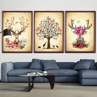 蒙娜丽莎十字绣发财鹿线绣 新款三联画印花客厅大幅满绣十字绣