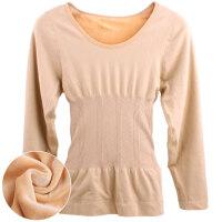 加绒塑身束腹收胃保暖内衣上衣秋衣长袖秋冬肤色及腰修腹美体上装