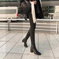 马靴女长筒靴2018冬新款粗跟圆头及膝长靴侧拉链骑士皮靴高筒靴子SN3513