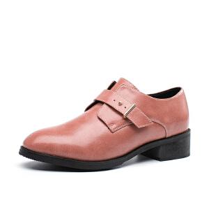 如熙2017秋季新款单鞋牛津鞋女鞋粗跟低跟圆头一字扣韩版潮鞋子