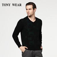 TONY WEAR/汤尼威尔商务休闲男士秋冬镶色V领毛衫毛衣套衫