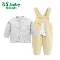 歌歌宝贝婴儿背带裤套装冬男女宝宝保暖棉衣0-1岁加厚棉袄两件套