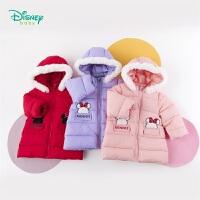 迪士尼Disney童�b 女童�B帽�A棉外套冬季新品米妮印花上衣中�L款百搭厚外套194S1169