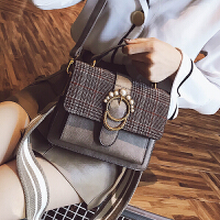 包包女2018新款潮百搭韩版格子女包手提包宽带时尚大气简约斜挎包