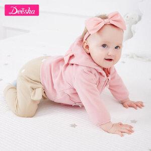 【99元3件专区】笛莎女童装209春装新款小童长裤萌趣可爱猫咪图案宝宝裤子