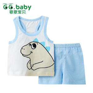 歌歌宝贝 夏季新款套装 婴儿背心短裤套装   宝宝背心印花套装