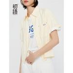 【1件3折价:89.5元】初语短袖衬衫女夏装新款翻领工装口袋宽松中性港味短款衬衣女