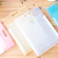 风琴包文件夹A4手提式多层学生用试卷夹分类女透明插页竖款文件袋