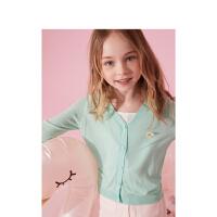 【7.30号】【2件1.5折价:45】笛莎童装女童外套2021夏季薄款中大童儿童洋气甜美上衣针织空调衫