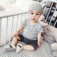宝宝套装夏装婴儿衣服新生儿纯棉短袖两件套婴幼儿五分裤薄款