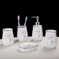 卫浴五件套装陶瓷浴室用品洗漱套件牙刷杯具套件新婚礼品礼物
