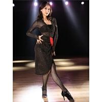 拉丁舞服装女跳舞练功服套装流苏连衣裙