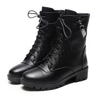 真皮�R丁靴女英���L粗跟中筒短靴秋冬季加�q�A�^平跟女鞋系�аプ�