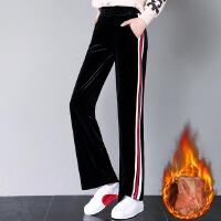 冬季新款金丝绒阔腿裤加绒加厚女式休闲裤韩版高腰显瘦直筒裤
