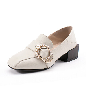 如熙2017秋季新款单鞋低帮鞋乐福鞋粗跟中跟方头套脚复古女鞋