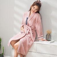 法兰绒冬季情侣睡衣长袖珊瑚绒加厚睡袍男女士长款保暖浴袍套装秋