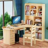 实木转角电脑桌台式儿童学习书桌书架组合书柜一体家用学生写字桌