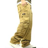 青年多口袋工装裤休闲裤男纯棉宽松长裤军裤嘻哈街舞裤户外运动裤