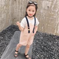女童夏季韩版宝宝儿童潮短袖T恤宽松背带连体裤时髦二件套装