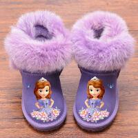 兔毛女童雪地靴儿童短靴女牛皮加绒保暖靴可爱卡通宝宝靴子冬季 52紫色公主