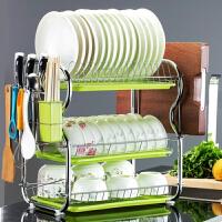 白领公社 厨房置物架 整理收纳双层落地沥水碗碟架不锈钢放洗碗碗架碗盘家用用品收纳架